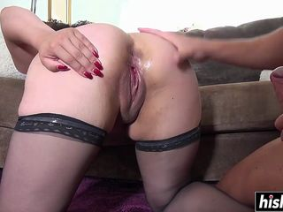 Broad in the beam stepsister in stockings wants his fat pecker inner of the brush vagina.